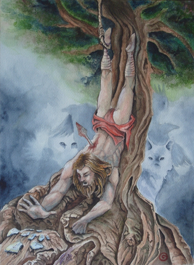 Interpretation of Odin's ordeal once hung from the windtorn to gain inspiration and wisdom from the Runes